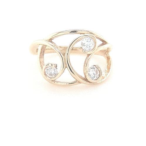 9ct CZ Swirl Ring