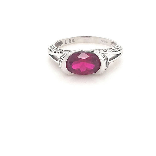 9ct Synthetic Ruby & CZ Ring