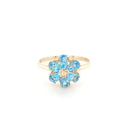 9ct Blue Topaz Flower Ring