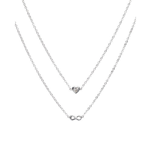 Unique Silver CZ Heart & Infinity Double Pendant MK 726