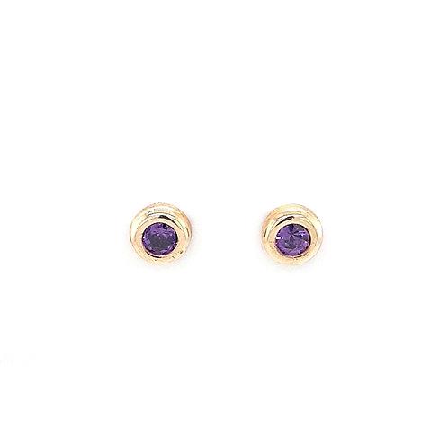 9ct Synthetic Amethyst Stud Earrings
