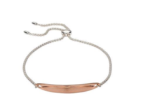 Unique Silver Rose Gold Bar Bracelet MBR 598