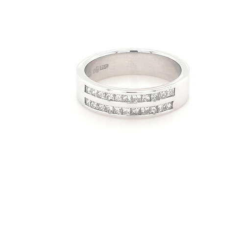 18ct Double Row Princess Cut Eternity Ring