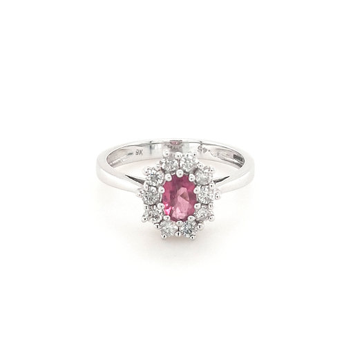 9ct Pink Sapphire & Diamond Cluster Ring