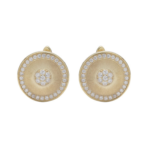 Unique Silver CZ Gold Plated Circle Earrings ME 715 GO