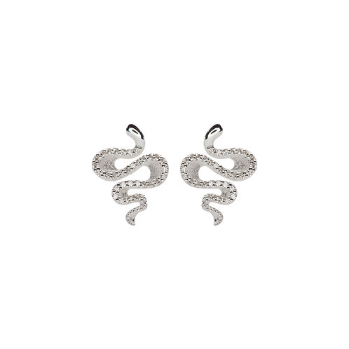 Unique Silver CZ Twist Style Earrings ME 742