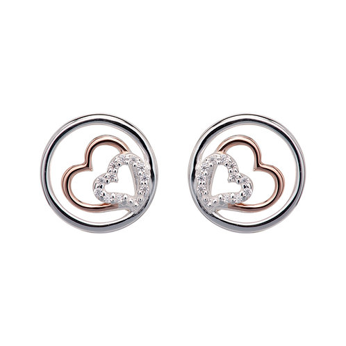 Unique Double Heart Circle Stud Earrings ME766