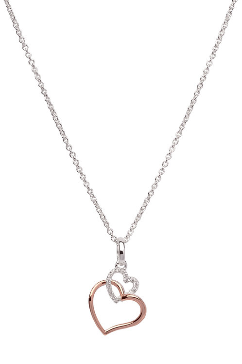 Unique Silver CZ Rose Gold Plated Double Heart MK 612