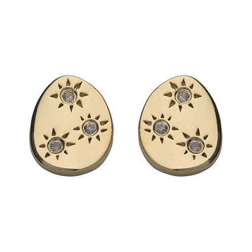 Unique Silver Gold Plated Stud Earrings With White Sapphires ME 703