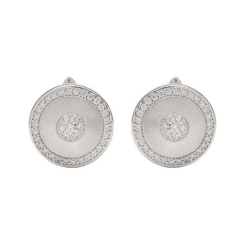 Unique Silver CZ Circle Stud Earrings ME 715