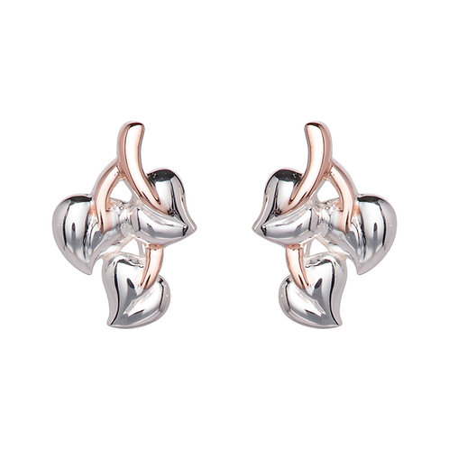 Unique Silver Rose Gold Plated Leaf Style Earrings ME 781