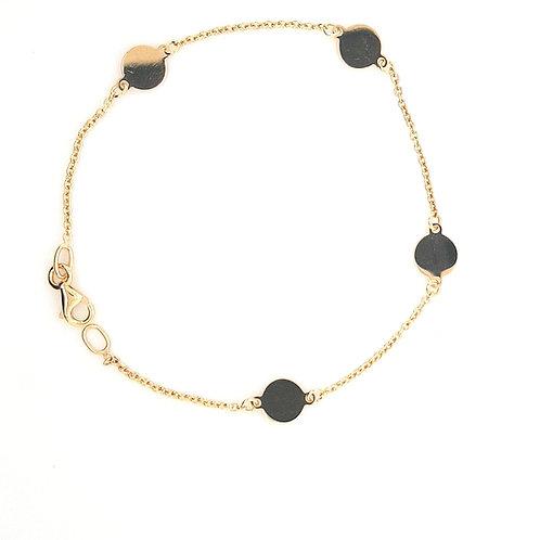 9ct Round Circle Disc Bracelet