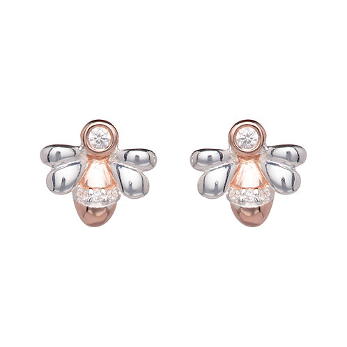 Unique Silver CZ Rose Plated Bumble Bee Earrings ME 759