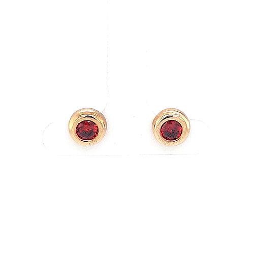 9ct Round Garnet Earrings