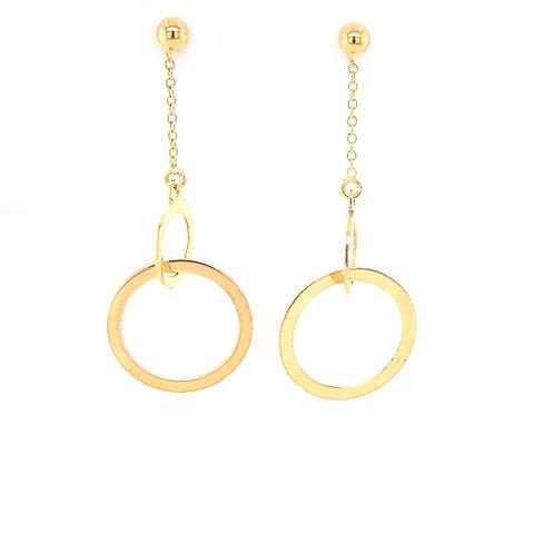 9ct Yellow Circle Drop Earrings