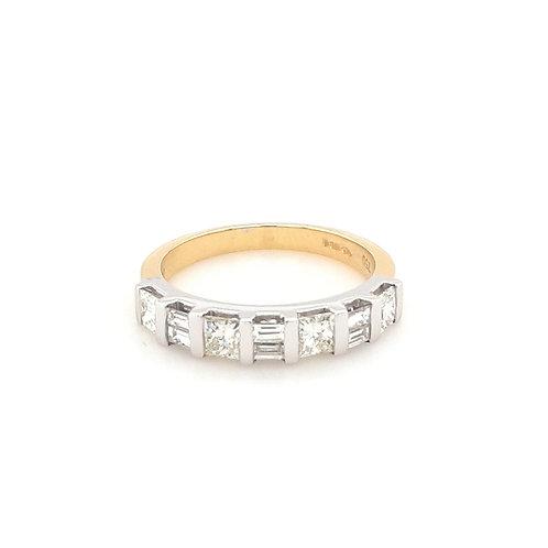 18ct Princess & Baguette Diamond Ring