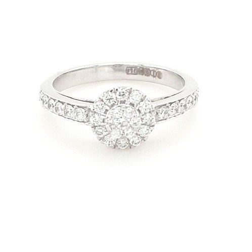18ct White Gold Halo Cluster Diamond Ring