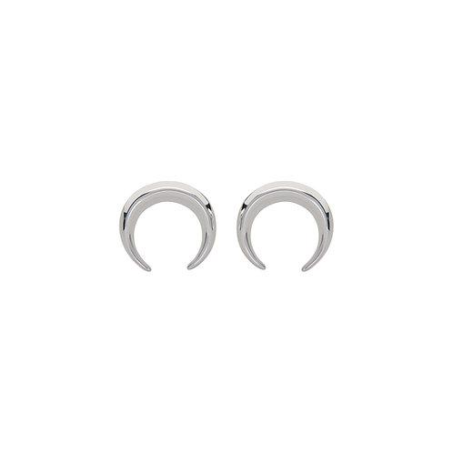 Unique Silver Drop Moon Stud Earrings ME 738