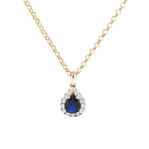 9ct Pear Shape Created Sapphire & CZ Pendant