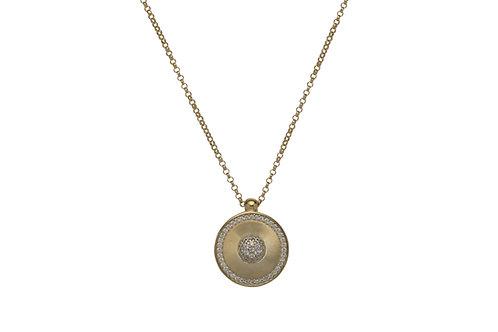 Unique Silver Gold Plated Circle CZ Pendant MK 715GO