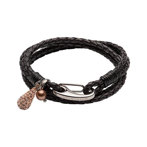 Black Leather Bracelet Shrimp Clasp Rose Crystal Drop & Pearl BL47 0BL