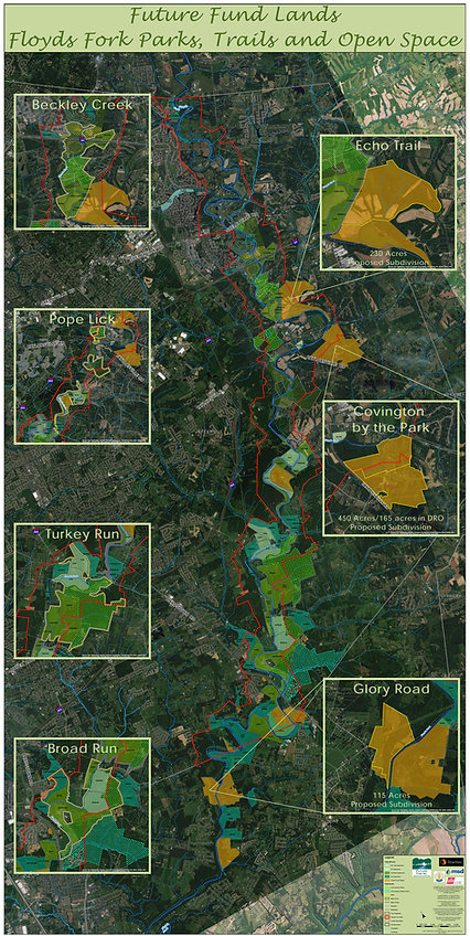 Future Fund Land Trust area map of saving Floyds Fork.