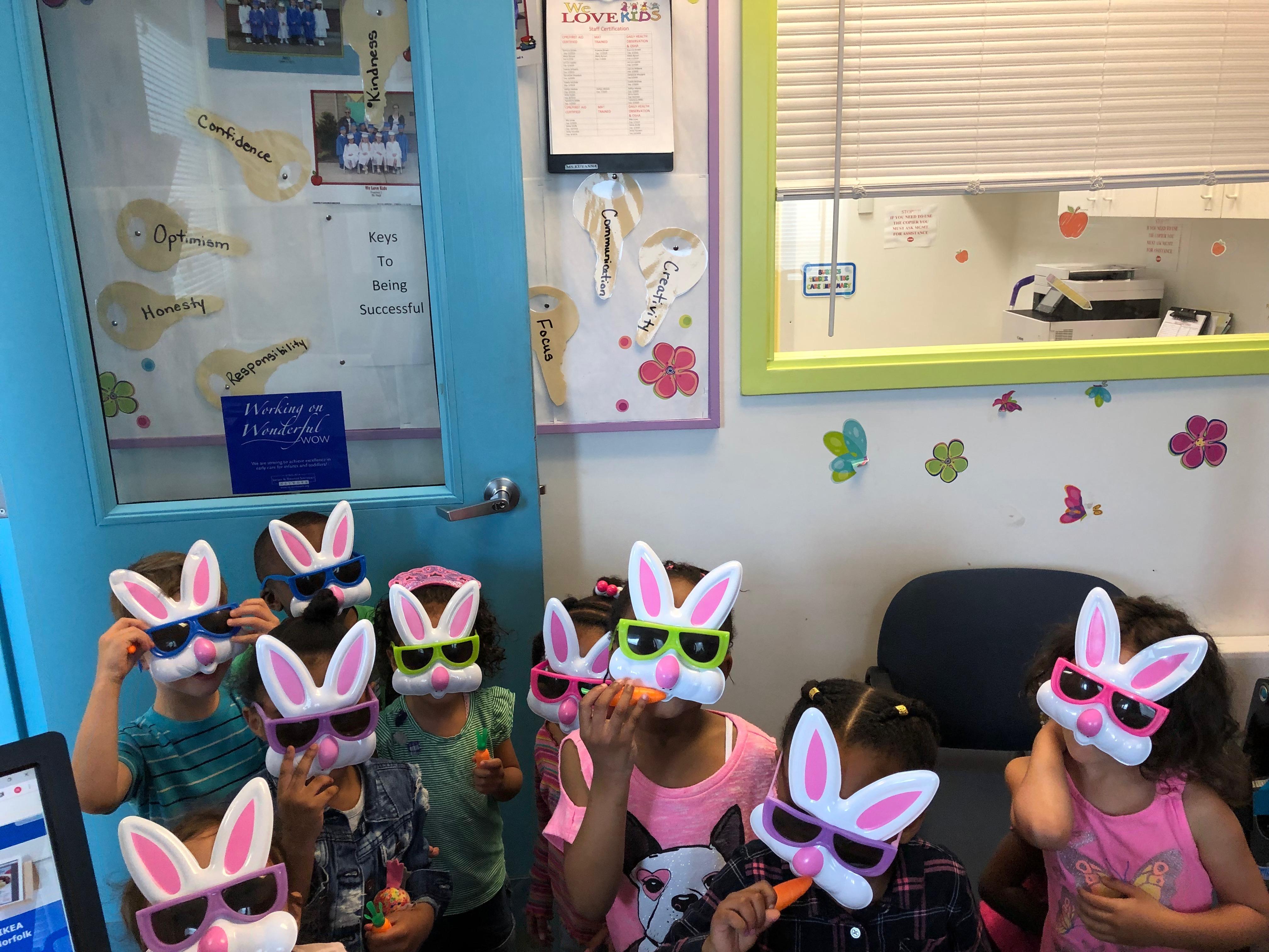 kids w bunny masks