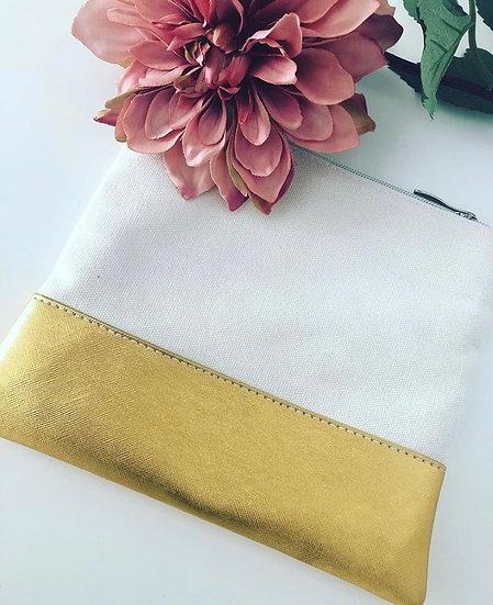 Canvas Makeup Bag with Metallic Bottom