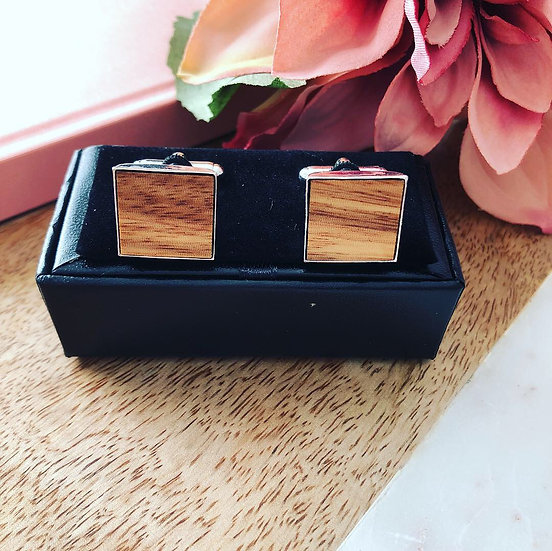Wood Cufflinks - Light Square