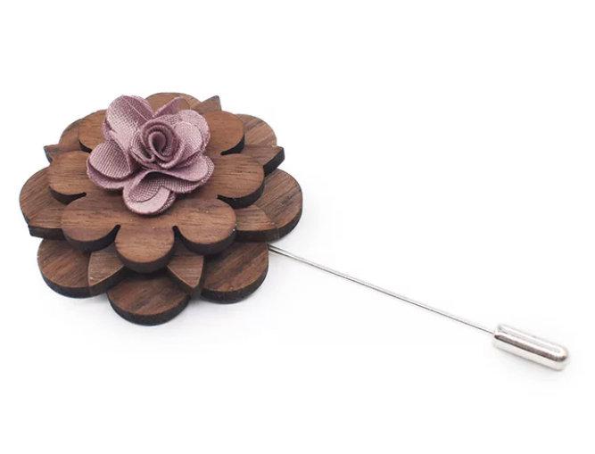 Wood Flower Lapel - Long Pin
