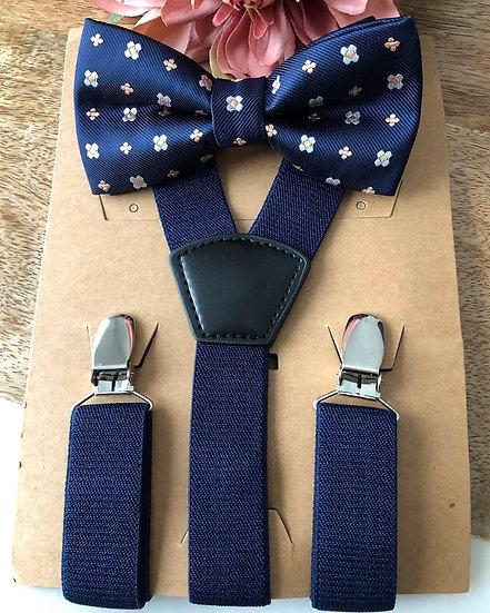 Blue Mini Flower Suspender Set