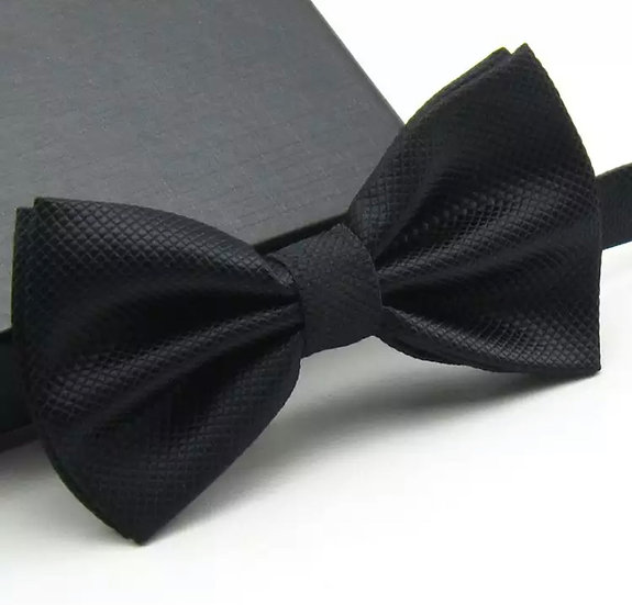 Textured Black Bow Tie