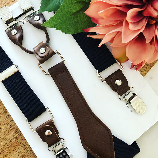 Black Suspenders with Brown Leather Accents