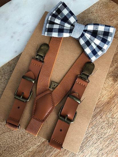 Black & White Checker Suspender Set