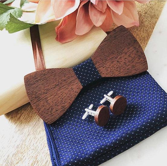 Blue Diamond Polka Dot Wood Bow Tie Set