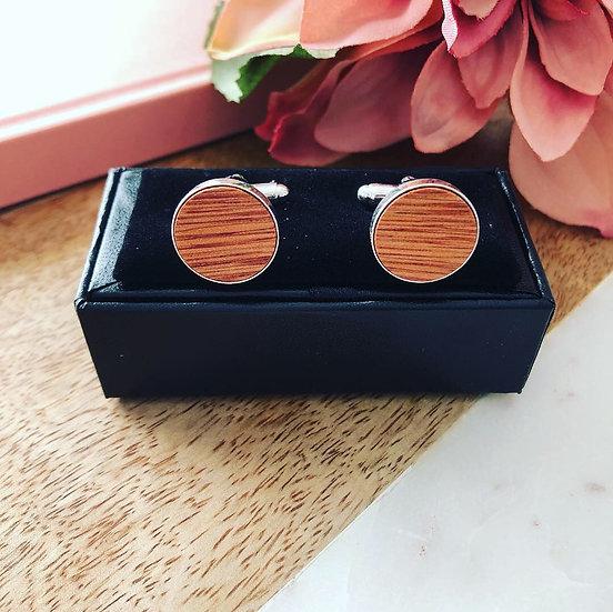 Wood Cufflinks - Light Round