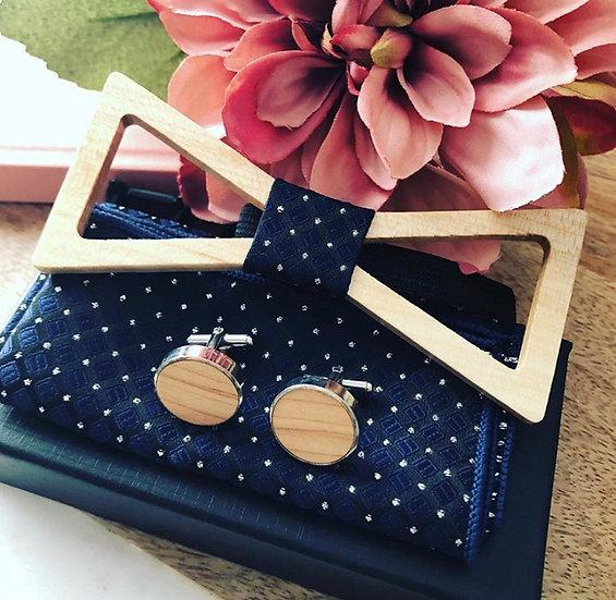 Blue Diamond Natural Wood Bow Tie Set