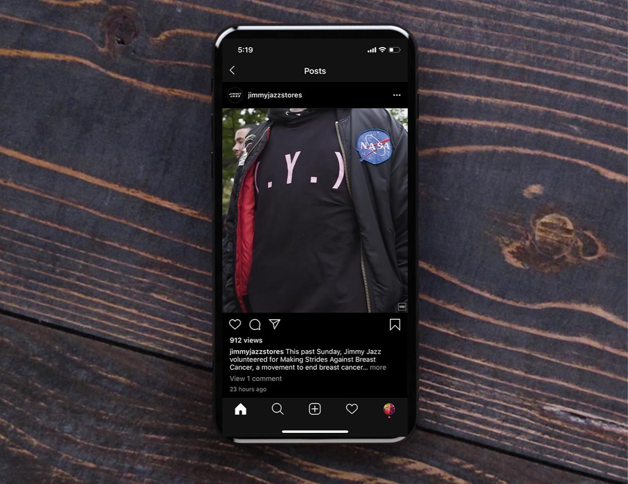 Jimmy Jazz Social Media Breast Cancer Walk T-Shirt Design