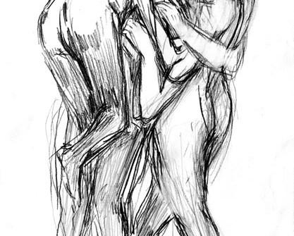 Série Quelques Vies de la Tarentule,Couple avec enfants, graphites sur papier, 21 x 14,8 cm, 2007