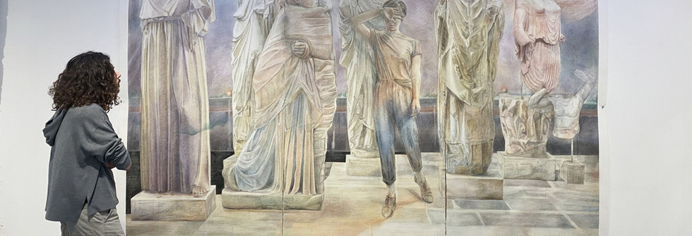 Restitution, Pierre noire, aquarelle, 390 x 270 cm, 2019