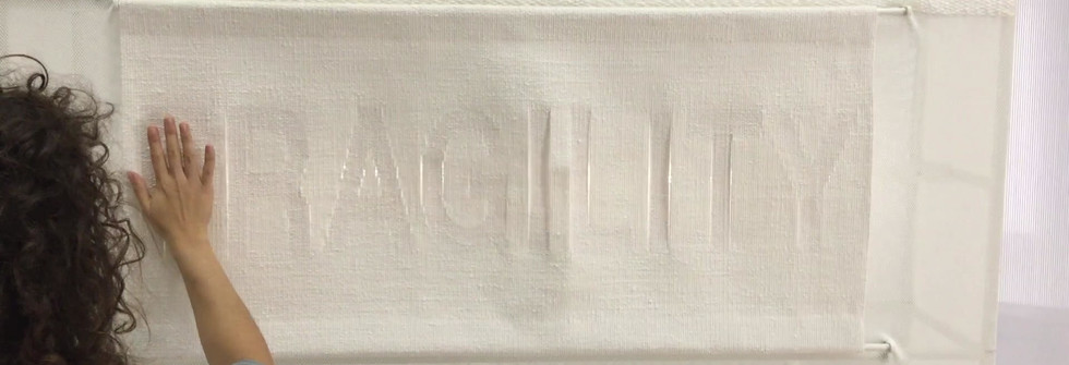Fragility, Words Weave Worlds,Interactive installation, linen tapestries, Jacquard thread, metal, mesh, 2019
