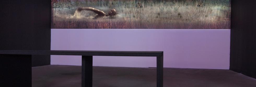 vue exposition Moshen Gallery Teheran, La traversée, Projection vidéo sur photographie, Hauteur 50 cm et longueur variable, 3 éditions, 2011