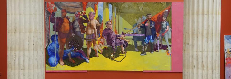 Vue d'exposition 3 ans au Placard, Dernière toiles avant diplomes, huile sur toile, 400 x 200 cm, 2019