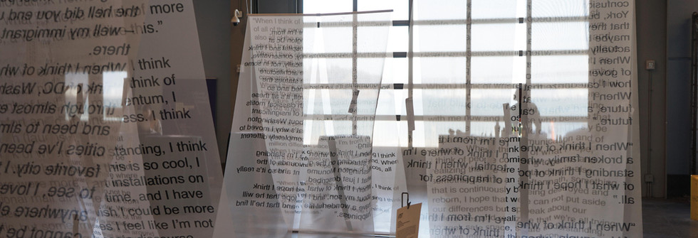 #TBT, Interactive installation, digitally printed textile, safety pins, paper, pens, Tents approx. 7ft by 7ft by 5ft. Installed at the San Francisco Design Week, 2018