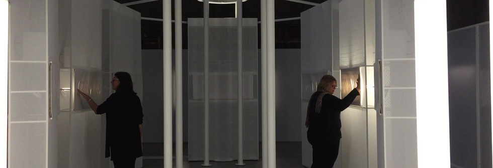 Words Weave Worlds,Interactive installation, linen tapestries, Jacquard thread, metal, mesh, 2019