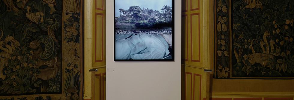 Vue exposition Château de la Tremolière, Khar, caisson lumineux, cadre chêne noir, 120 x 90 cm, 3 éditions, 2015