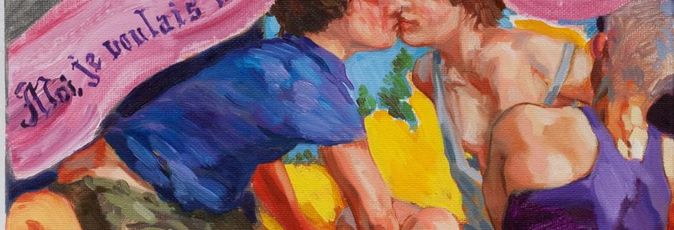 Big bisous, huile sur toile, 22 x 27 cm, 2020