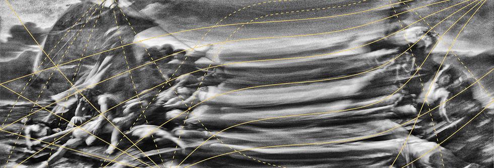 Radeau de la méduse, Mouvement 1, Prise de vue argentique, dorure à la main, 146 x 69 cm, 2017