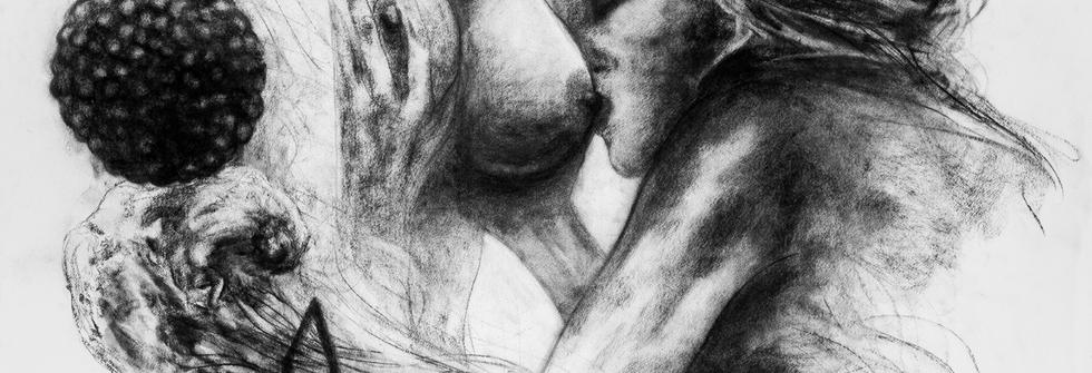 Touch, Fusain sur papier, 200 x 125 cm, 2018