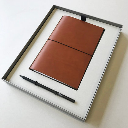 Leather notebook box - brown